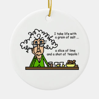 Life and Tequila Humor Round Ceramic Decoration