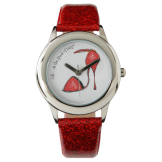 Life at the Speed of Tango Red Glitter Watch