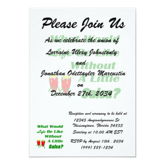 life be like without salsa green text red congas 13 cm x 18 cm invitation card