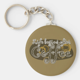 Life Begins After Coffee Basic Round Button Key Ring