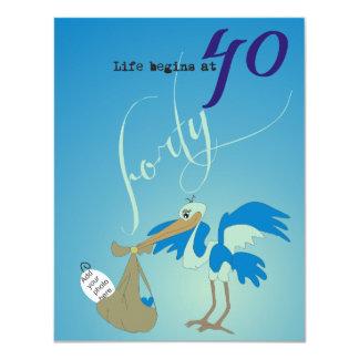 Life Begins at 40 Invitation - Ocean