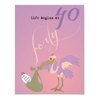 Life Begins at 40 Invitation - Sunset