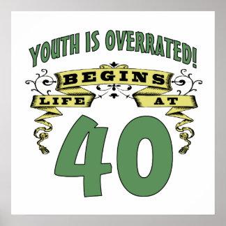 Life Begins At 40th Birthday Print