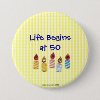 """Life Begins at 50"" Colorful Birthday Candles Pin"