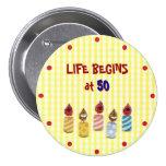 """Life Begins at 50"" Colourful Birthday Candles Pin"