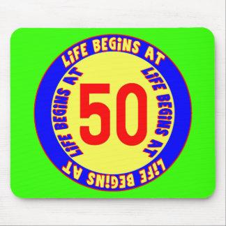 Life Begins At 50th Birthday Mousepad