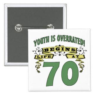Life Begins At 70th Birthday 15 Cm Square Badge