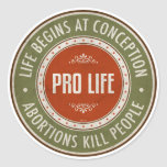 Life Begins At Conception Round Sticker