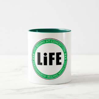 Life Begins At Conception Two-Tone Coffee Mug