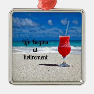 Life Begins at Retirement - Frosty Drink on Beach Christmas Ornament