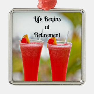 Life Begins at Retirement - Frosty Tropical Drinks Christmas Ornament