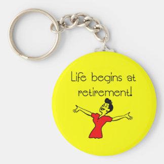 Life Begins at Retirement! Fun Gifts Basic Round Button Key Ring