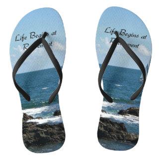 Life Begins at Retirement, Sailing the Ocean Blue Flip Flops