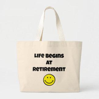 Life Begins at Retirement - Smiley Large Tote Bag