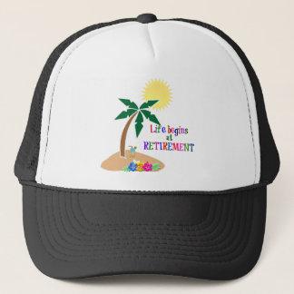 Life Begins at Retirement, Tropical Beach Trucker Hat