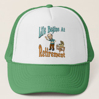 Life Begins At Retirement Trucker Hat