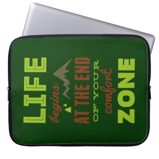 Life begins at the end of your comfort zone. laptop computer sleeves