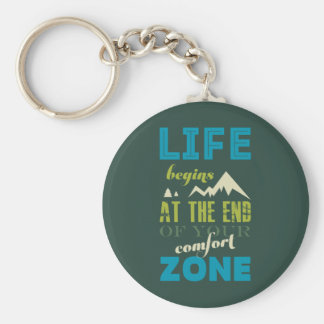 Life begins Inspirational Quote Typography Print Basic Round Button Key Ring