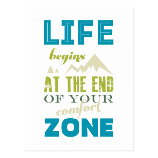 Life begins Inspirational Quote Typography Print Postcard