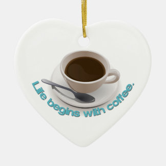 Life begins with coffee. christmas ornament