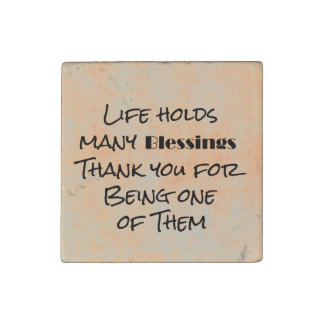Life Blessings and Thank You Stone Magnet