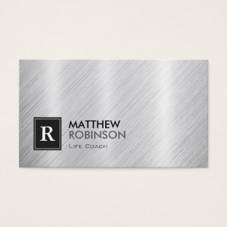 Life Coach  - Brushed Metal Monogram Business Card