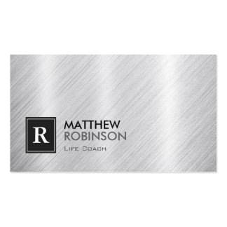 Life Coach  - Brushed Metal Monogram Pack Of Standard Business Cards