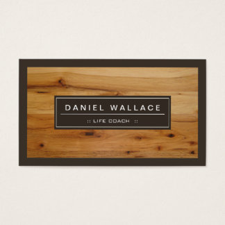 Life Coach  - Classy Wood Grain Look Business Card