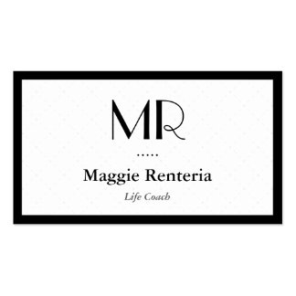 Life Coach  - Clean Stylish Monogram Pack Of Standard Business Cards