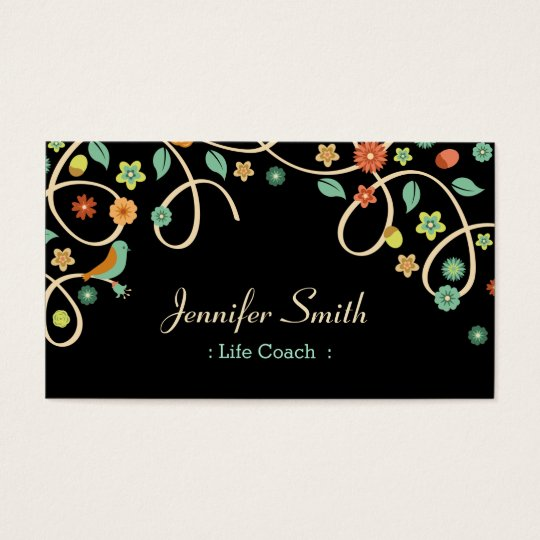 Life Coach - Elegant Swirl Floral Business Card