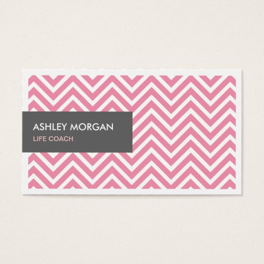 Life Coach  - Light Pink Chevron Zigzag Business Card