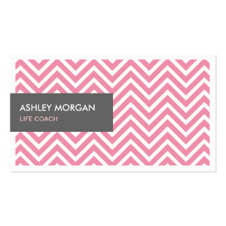 Life Coach  - Light Pink Chevron Zigzag Pack Of Standard Business Cards
