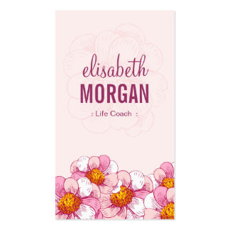 Life Coach  - Pink Boutique Flowers Pack Of Standard Business Cards