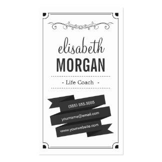 Life Coach - Retro Black and White Business Card Templates