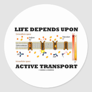 Life Depends Upon Active Transport (Na-K Pump) Round Sticker