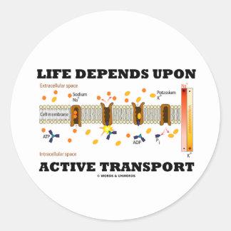 Life Depends Upon Active Transport Na-K Pump Round Sticker