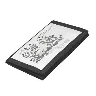 Life Full of Catnip Black and White Tri-fold Wallet