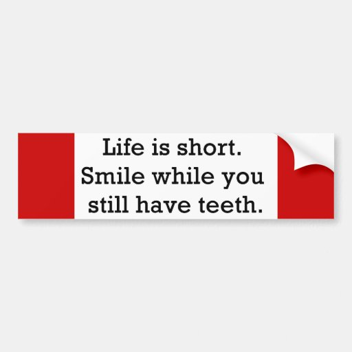 LIFE FUNNY SAYINGS SHORT SMILE WHILE YOU STILL BUMPER STICKER