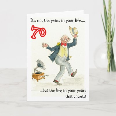 70th birthday card for a man with a pen and wash design