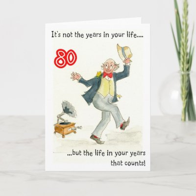 An 80th birthday card for a man with a pen and wash des