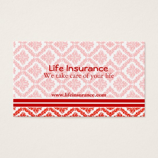 Life Insurance Red and White Business Cards
