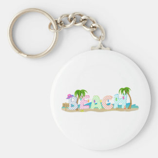 Life is a Beach Design Basic Round Button Key Ring