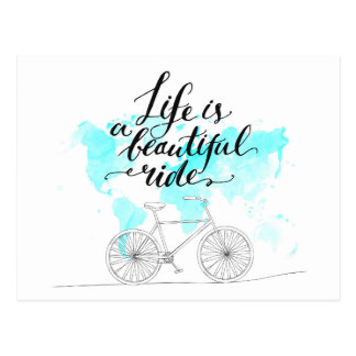 Life Is A Beautiful Ride Blue Postcard