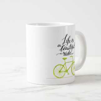 Life Is A Beautiful Ride Lime Green Large Coffee Mug