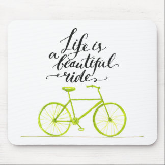 Life Is A Beautiful Ride Lime Green Mouse Mat