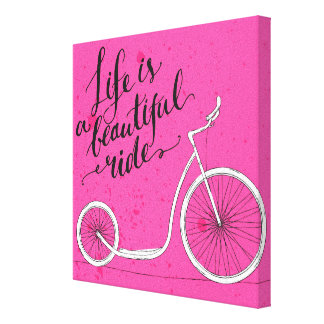 Life Is A Beautiful Ride Pink Canvas Print