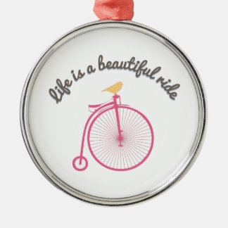 Life Is A Beautiful Ride Silver-Colored Round Decoration