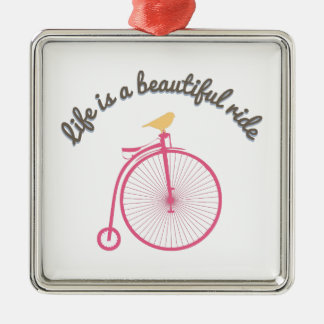 Life Is A Beautiful Ride Silver-Colored Square Decoration