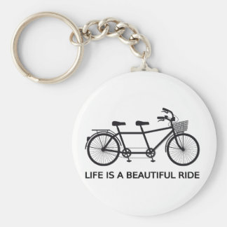 Life is a beautiful ride, tandem bicycle basic round button key ring