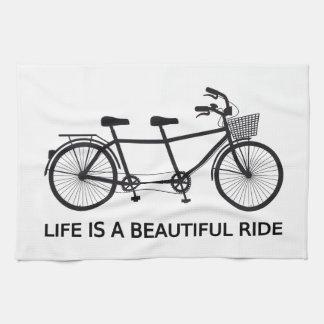 Life is a beautiful ride, tandem bicycle tea towel